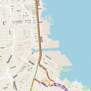 A map showing possible routes for a new express service between Bayview-Hunters Point and downtown.