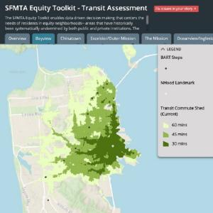Image of SFMTA's Equity Toolkit showing information for the Bayview neighborhood since Shelter in Place began