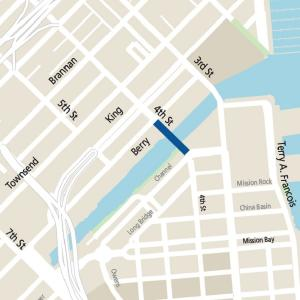 Map showing location of 4th Street bridge in Mission Bay