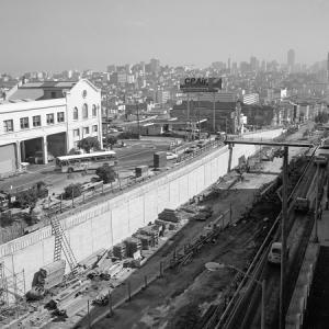 Photo of the Geary Expressway under construction near Presidio Street in the 1960s.
