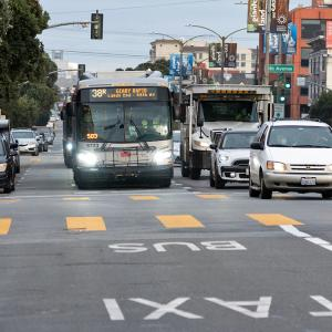Photo of the 38 Geary bus crossing 9th Avenue