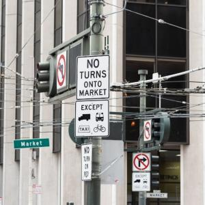 Signs indicating on turns onto Market Street
