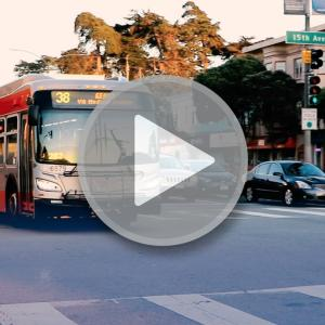 Image of 38 bus using new transit queue jump at Geary and 15th Avenue.