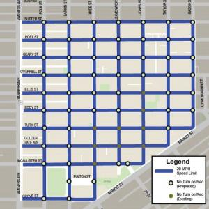Map showing locations of 20 MPH speed zones and no turn on red locations