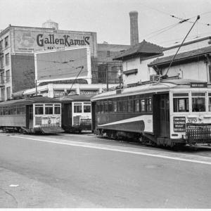 A photo from OpenSFHistory.org showing the 15, 16, and 29 Streetcars outside the Southern Pacific Railroad Depot in 1940, shortl