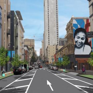 Photo rendering showing completed improvements on Taylor Street between Turk and Ellis Streets