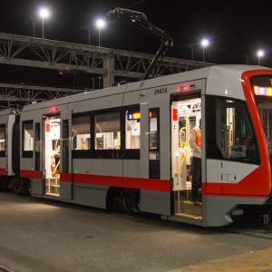 Photo of muni train at night