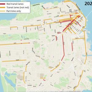 Map showing transit lanes in San Francisco