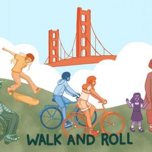 Cartoon of people walking, biking, skateboarding and using a wheelchair
