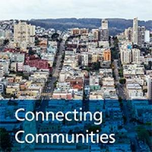 "Image of cover for 2019 annual report showing San Francisco residential neighborhood skyline and title ""Connecting Communities"""
