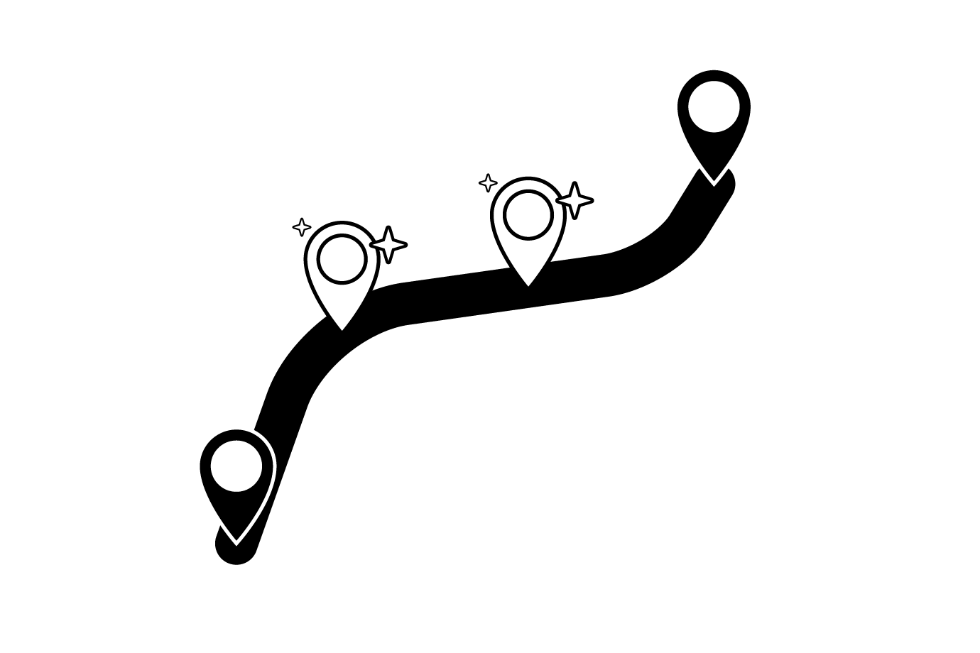 graphic indicating new stops on a route