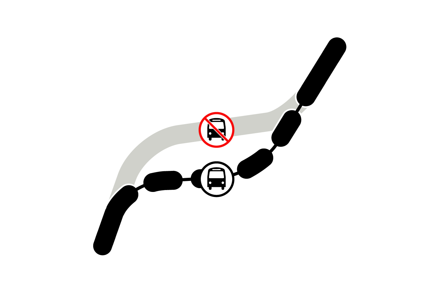 graphic indicating reroute
