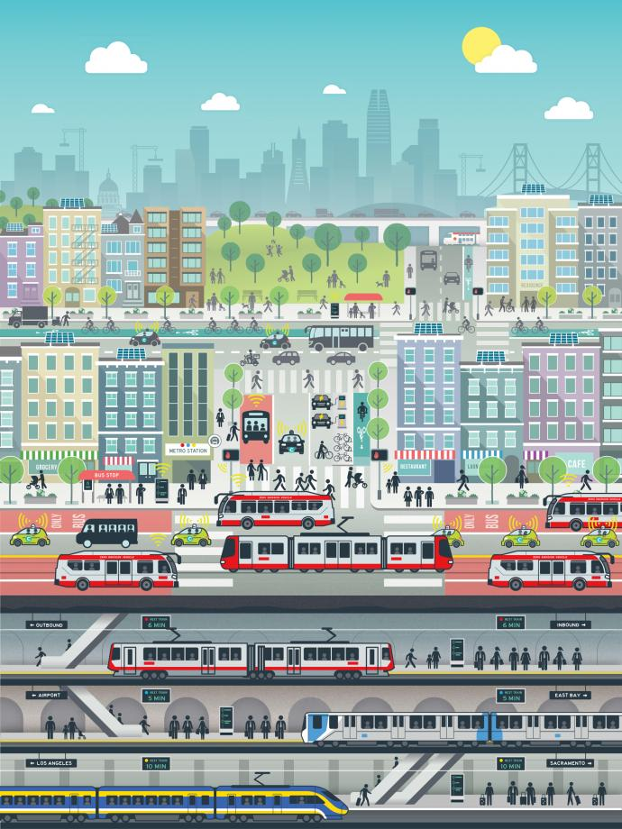 Illustration of the City with a vibrant and complete transportation system